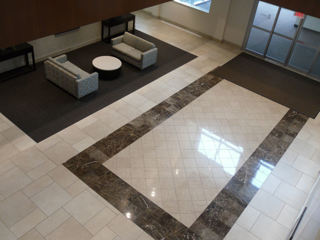 Delnor integral flooring system design scope provided and installed resilient flooring and ceramic tile installed intricate inlay patterns at both main entrances dailygadgetfo Image collections
